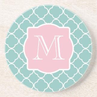 Light Green Quatrefoil Pink Monogram Sandstone Coaster