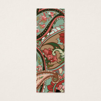 Light green, red and pink paisley mini business card