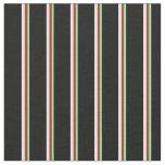[ Thumbnail: Light Green, Red, Light Cyan & Black Stripes Fabric ]