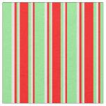 [ Thumbnail: Light Green, Red & Light Cyan Stripes Fabric ]