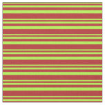 [ Thumbnail: Light Green & Red Lined/Striped Pattern Fabric ]