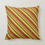 [ Thumbnail: Light Green & Red Lined/Striped Pattern Pillow ]