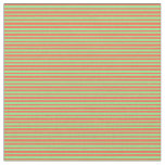 [ Thumbnail: Light Green & Red Lines Fabric ]