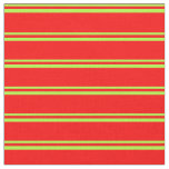[ Thumbnail: Light Green & Red Stripes/Lines Pattern Fabric ]