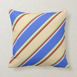 [ Thumbnail: Light Green, Red, Tan, Royal Blue, and White Throw Pillow ]