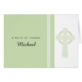 Light Green Religious Cross Thank You Card