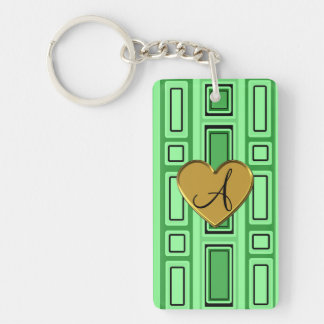 Light green retro squares monogram Double-Sided rectangular acrylic keychain