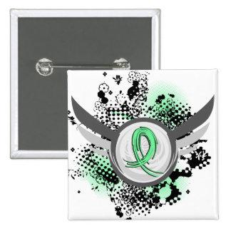 Light Green Ribbon And Wings Celiac Disease Pinback Button