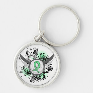 Light Green Ribbon And Wings Celiac Disease Key Chains
