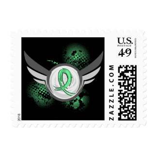 Light Green Ribbon And Wings Celiac Disease Postage Stamp