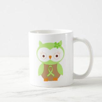 Light Green Ribbon Awareness Owl Classic White Coffee Mug