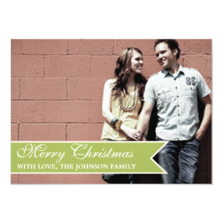 Light Green Ribbon Photo Christmas Cards