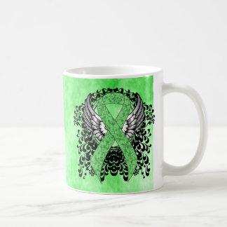Light Green Ribbon with Wings Mugs