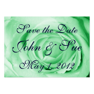 Light Green Rose Save the Date Large Business Cards (Pack Of 100)