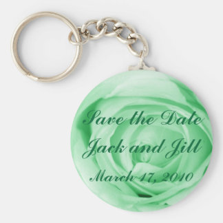 Light Green Save the Date Basic Round Button Keychain