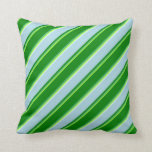 [ Thumbnail: Light Green, Sea Green, Green, Blue & Light Cyan Throw Pillow ]