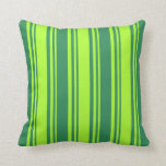 [ Thumbnail: Light Green & Sea Green Stripes/Lines Pattern Throw Pillow ]