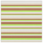 [ Thumbnail: Light Green, Sienna, Tan, and White Colored Lines Fabric ]