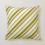 [ Thumbnail: Light Green, Sienna, Tan, and White Colored Lines Throw Pillow ]