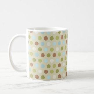 Light Green, Sky Blue, Brown, Tan, Polka Dots Mug