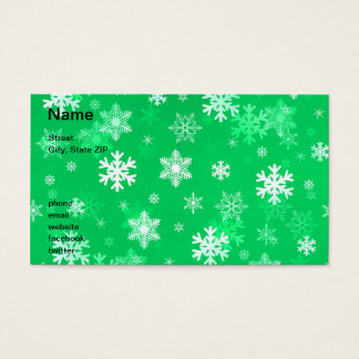 Light Green Snowflakes Business Card