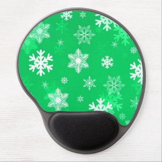 Light Green Snowflakes Gel Mouse Pad