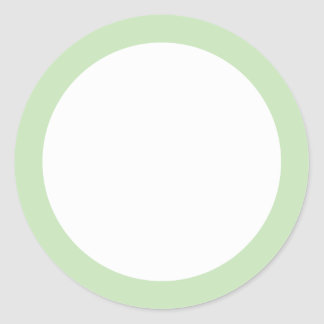 Light green solid color border blank classic round sticker