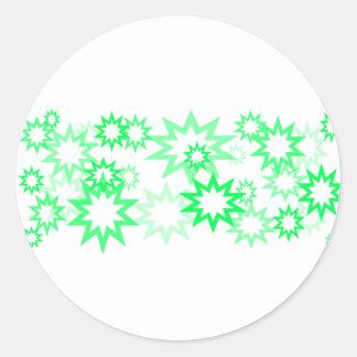 Light Green Stars Classic Round Sticker