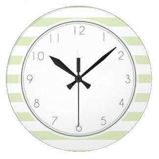 Light Green Stripes Pattern Large Clock