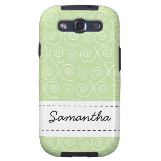 Light Green Swirl Custom Name Android Phone Case Samsung Galaxy S3 Cases