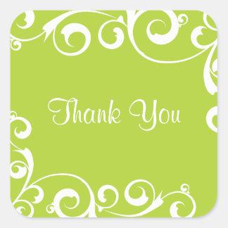 Light Green Swirl Thank You Sticker