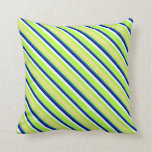 [ Thumbnail: Light Green, Tan, Dark Cyan, Dark Blue, Mint Cream Throw Pillow ]