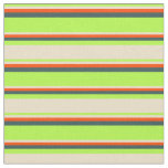 [ Thumbnail: Light Green, Tan, Red & Dark Slate Gray Pattern Fabric ]