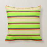 [ Thumbnail: Light Green, Tan, Red & Dark Slate Gray Pattern Throw Pillow ]