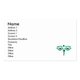 Light Green teal Buddha Eyes.png Business Card Template