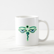 Light Green teal Buddha Eyes.png Coffee Mugs