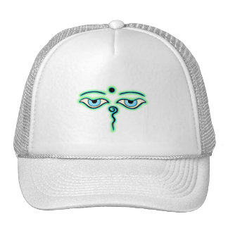 Light Green teal Buddha Eyes.png Trucker Hat