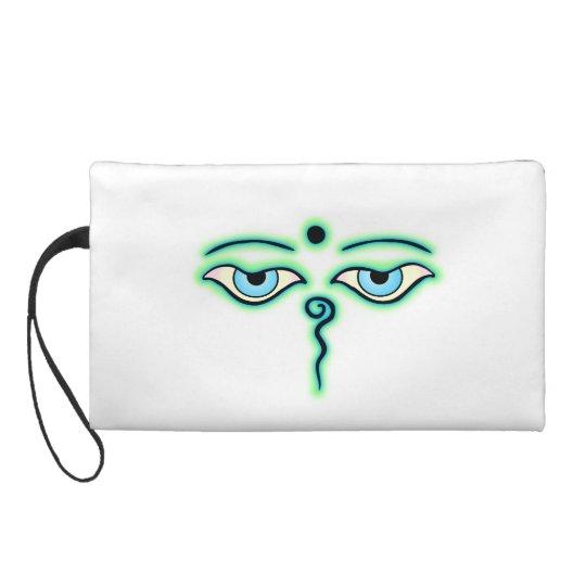 Light Green teal Buddha Eyes.png Wristlet Purse