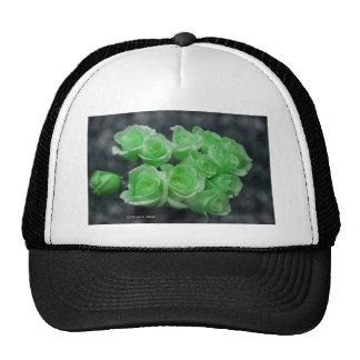 Light green tinted rose bouquet hat