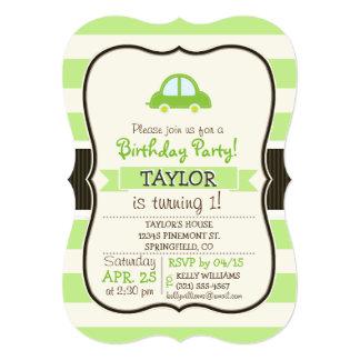 Light Green Toy Car 5x7 Paper Invitation Card
