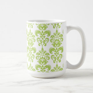 Light Green Vintage Damask Pattern 2 Coffee Mugs