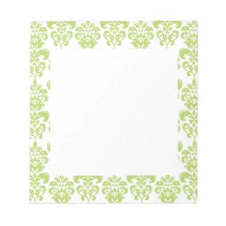 Light Green Vintage Damask Pattern 2 Note Pad