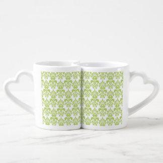 Light Green Vintage Damask Pattern 2 Lovers Mug Sets