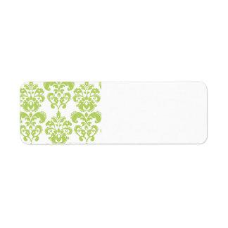 Light Green Vintage Damask Pattern 2 Return Address Label