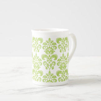 Light Green Vintage Damask Pattern 2 Bone China Mugs