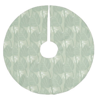 Light Green Watercolor Leaves Brushed Polyester Tree Skirt