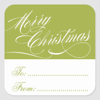 LIGHT GREEN WHITE CHRISTMAS GIFT TAG STICKERS
