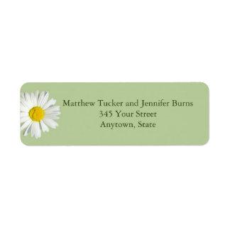Light Green White Daisy Envelope Address Labels Return Address Labels