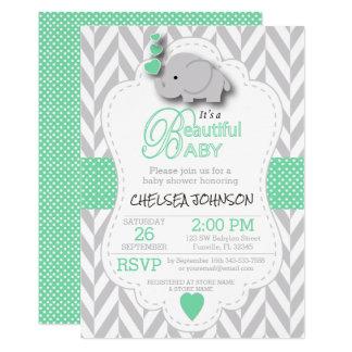 Light Green, White Gray Elephant Baby Shower Card
