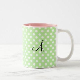 Light green white polka dots monogram mugs